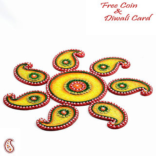 Yellow, Green And Red Wood Clay Keri Floor Art  Rangoli