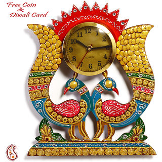 Twin Peacock Wall Clock In Rajasthani Clay And Wood Craft