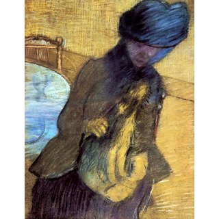 The Museum Outlet - Mary Cassatt with her dog by Degas - Poster Print Online Buy (24 X 32 Inch)