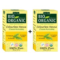 Indus Valley BIO Organic Colourless HENNA (Cassia Auriculata) With Color Recipe Book- Twin Set