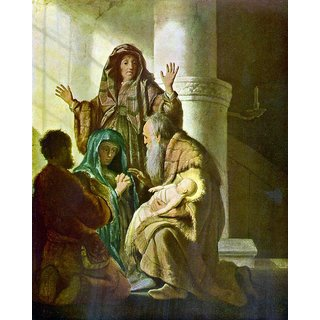 The Museum Outlet - Hannah and Simeon in the temple by Rembrandt - Poster Print Online Buy (24 X 32 Inch)