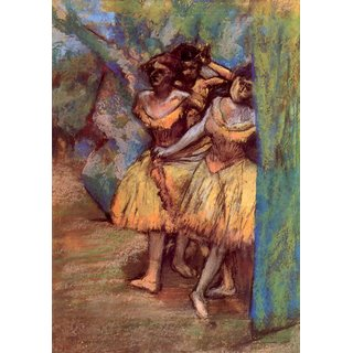 The Museum Outlet - Three dancers behind the scenes by Degas - Poster Print Online Buy (24 X 32 Inch)
