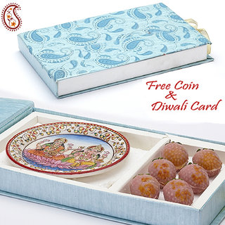 Gift Box With Kaju Lichees And Laxmi Ganesh Plate