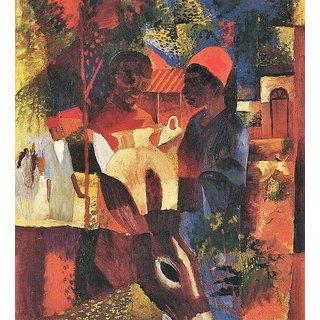 The Museum Outlet - Market in Tunisia by August Macke - Poster Print Online Buy (24 X 32 Inch)
