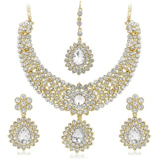Vidhi Jewels Fancy Design Gold Plated Necklace Set - NK112G VNk112G
