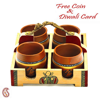 Traditional Look Tray Set With 4 Small Tumbler