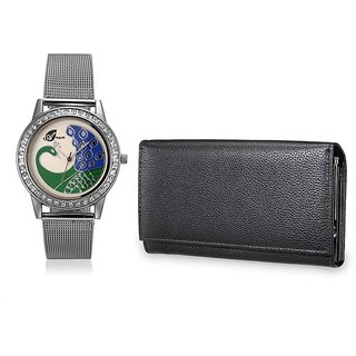 Arum Combo Silver  Peacock  Watch With  Smart Black Wallet ANWWC-016
