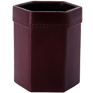 ZINT Pure Leather Brown Pen Stand Pencil Holder Office Supplies Desk Accessory Organizer