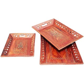 ikashan Brown Wood Treys Set of 3