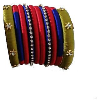 Beige and Red Combination Silk Thread Bangles