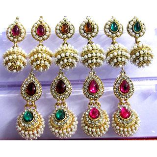 Multicolour Jhumka Earring set of 5