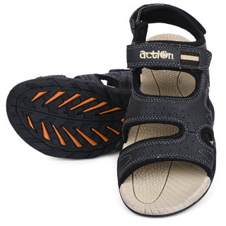 Action- Dotcom Men'S Black Velcro Sandals