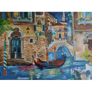 Original Venice Scene Artwork Oil Painting