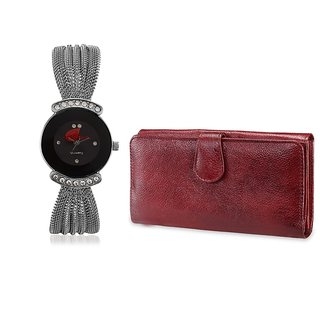 Arum Combo Silver Black  Stylish  Watch With Brown Wallet ANWWC-027