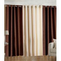 Handloomdaddy Pack Of 3 Beautiful Plain Eyelet Door Curtain (2 Brown & 1 Cream)