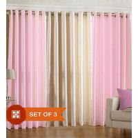 Handloomdaddy Pack Of 3 Beautiful Plain Eyelet Door Curtain (2 Pink & 1 Cream)