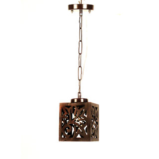 Fos Lighting Wooden Cut Square Mini Pendant Light