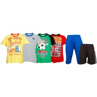 Pack Of 6 Combo Set 4 T-shirts  2 Pants For Boys By Little Stars