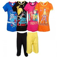 Pack Of 6 Combo Set 4 T-shirts  2 Pants For Girls By Little Stars