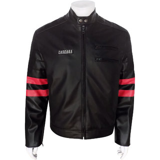 Cascara Full Sleeve solid Black with Red Men's Jackets