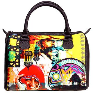 Yellow Color Canvas Bowling Bag in Rajasthani Print