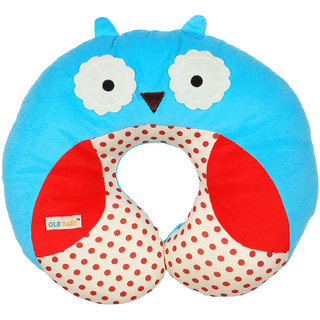 Ole Baby Owl Face Neck Support Pillow, Children's Neck Pillow, Soft and Plush,Blue 0-12 months
