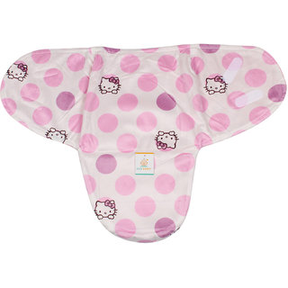 Ole Baby Hello Kitty  print Comfortable Swaddle Blanket, Adjustable Infant Wrap With Velcro Closure , Soft Furry in Pink and White 0-9 months