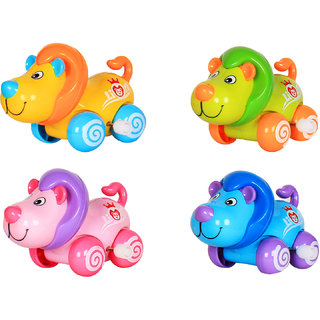 Ole Baby Clockwork Spring Cartoon Cute Gliding Animals Windup Lion Toy Small Cochain Toys Children's Early Educational Toys for Infants Toddlers 4 Pcs
