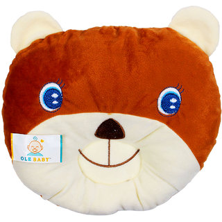 Ole Baby Fox Face Round Pillow, Children's Neck Pillow, Soft and Plush,Green 0-12 months