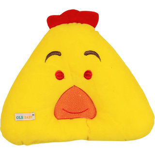 Ole Baby Chicken Face Round Pillow, Children's Neck Pillow, Soft and Plush,Yellow, 0-12 months
