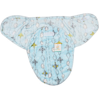 Ole Baby Flying Plane with Clouds on the side Double Side Print  Comfortable Swaddle Blanket, Adjustable Infant Wrap With Velcro Closure , Soft Furry 0-6 months