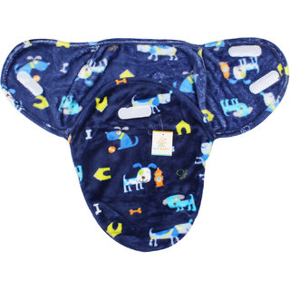 Ole Baby Dog and Home print Comfortable Swaddle Blanket, Adjustable Infant Wrap With Velcro Closure , Soft Furry in Blue,White and Yellow 0-6 months