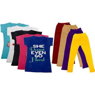 IndiWeaves Girls Cotton Leggings With T-Shirts(Pack of 4 Legging and 5 T-Shirts )Multi-ColouredPurpleYellow30