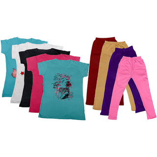 IndiWeaves Girls Cotton Leggings With T-Shirts(Pack of 4 Legging and 5 T-Shirts )Multi-ColouredPurplePink30