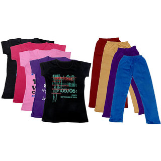IndiWeaves Girls Cotton Leggings With T-Shirts(Pack of 4 Legging and 5 T-Shirts )Multi-ColouredBeigePurple30