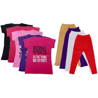 IndiWeaves Girls Cotton Leggings With T-Shirts(Pack of 4 Legging and 5 T-Shirts )Multi-ColouredPinkBeigePurpleRed30