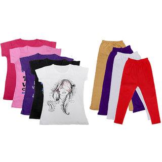 IndiWeaves Girls Cotton Leggings With T-Shirts(Pack of 4 Legging and 5 T-Shirts )PurpleBlackBeigePurpleRed30