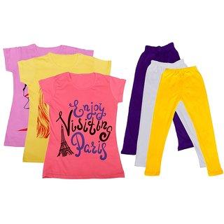 IndiWeaves Girls Cotton T-Shirts With Cotton Leggings (Pack of 3 T-Shirts 3 Leggings)PinkYellowPinkPurpleWhiteYellow30