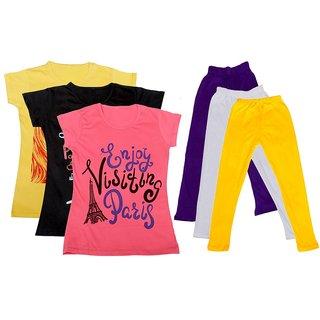 IndiWeaves Girls Cotton T-Shirts With Cotton Leggings (Pack of 3 T-Shirts 3 Leggings)YellowBlackPinkPurpleWhiteYellow30