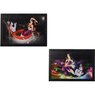 eCraftIndia Set of 2 Radha Krishna Satin Matt Textured UV Art Painting