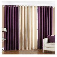 Handloomdaddy Pack Of 3 Beautiful Plain Eyelet Door Curtain (2 Purple & 1 Cream)