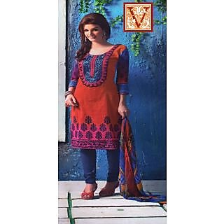 Vijays Red Blue Printed And Embroidered Cotton Unstitched Suit
