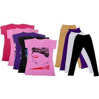 IndiWeaves Girls Cotton Leggings With T-Shirts(Pack of 4 Legging and 5 T-Shirts )PurpleBlackPinkBeigePurpleBlack30