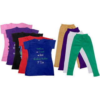 IndiWeaves Girls Cotton Leggings With T-Shirts(Pack of 4 Legging and 5 T-Shirts )PinkPurpleBlackRedBeigePurpleGreen30