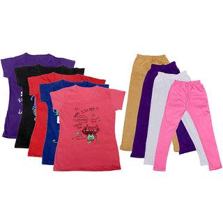 IndiWeaves Girls Cotton Leggings With T-Shirts(Pack of 4 Legging and 5 T-Shirts )PurpleBlackRedPinkBeigePurplePink30