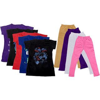 IndiWeaves Girls Cotton Leggings With T-Shirts(Pack of 4 Legging and 5 T-Shirts )PurpleBlackRedBlackBeigePurplePink30