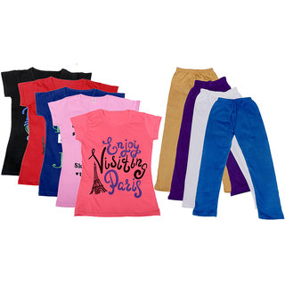 IndiWeaves Girls Cotton Leggings With T-Shirts(Pack of 4 Legging and 5 T-Shirts )PurpleBlackRedPinkBeigePurple30