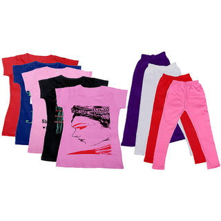 IndiWeaves Girls Cotton Leggings With T-Shirts(Pack of 4 Legging and 5 T-Shirts )RedPinkBlackPinkPurpleRedPink30