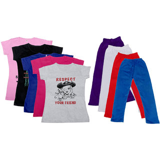 IndiWeaves Girls Cotton Leggings With T-Shirts(Pack of 4 Legging and 5 T-Shirts )Multi-ColouredRed30