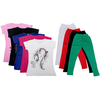 IndiWeaves Girls Cotton Leggings With T-Shirts(Pack of 4 Legging and 5 T-Shirts )Multi-ColouredGreen30
